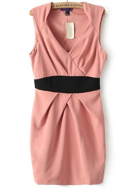 Pink V Neck Sleeveless Bodycon Dress N.Kr.149.65