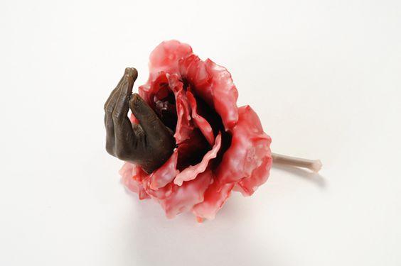 Valerie Hammond ---   Murmur, 2009  wax, silk and wire  10 x 5 x 7 inches: