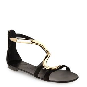 Giuseppe Zanotti Flat Black Suede Sandals ... with an articulated accessory reminiscent of a slithering snake ... these elegant, refined sandals are absolutely sensational on and impossible not to fall in love with.