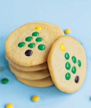 Ready-to-bake sugar-cookie dough and M & M Minis via Real Simple