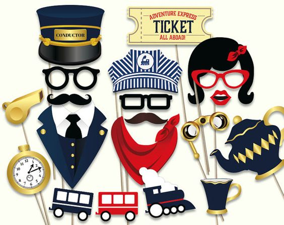 Train party photo booth props: printable PDF. Train by HatAcrobat