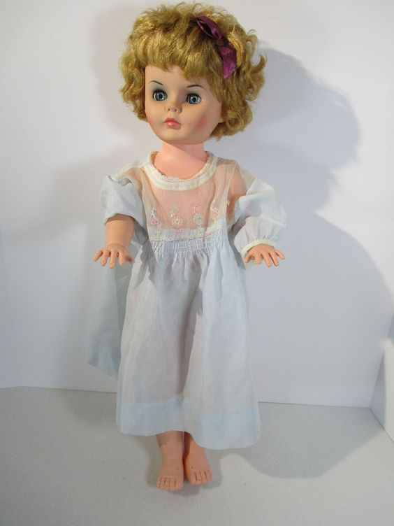 """Doll Vintage Plastic Open Close Eyes Blonde Hair Quilted Jacket Blue Dress 24"""""""