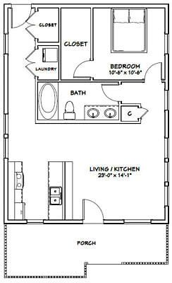 Details About 24x32 House 1 Bedroom 1 Bath Pdf Floor Plan 768 Sq Ft Model 1e Sisustus Koti Ja Tila