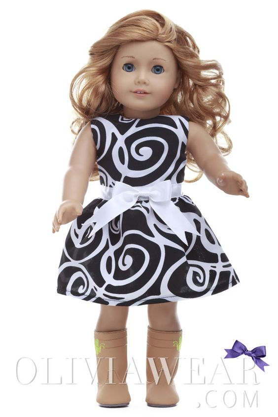American Girl Collection #37 Black and White Swirl Pattern Dress | OliviaWear.Com