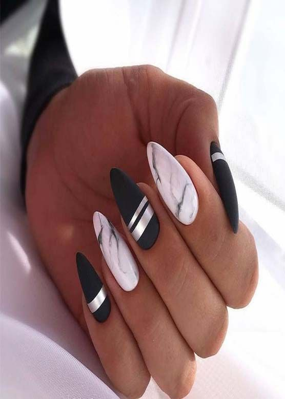 black and white color ful nails 2019