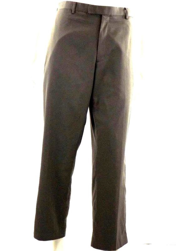 Claiborne Men's Flat Front Herringbone Gray Dress Slacks Size 36x29 #Claiborne #DressFlatFront