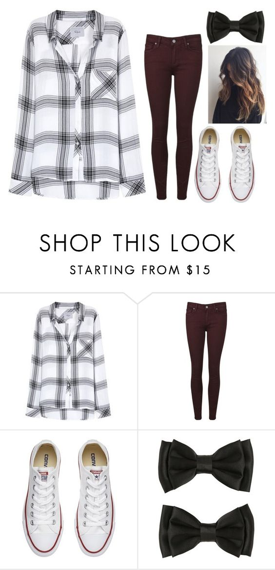 """Untitled #366"" by xxwonderland ❤ liked on Polyvore featuring Rails, Paige Denim and Converse"