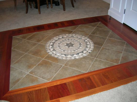 Entryway foyer with wood floor and tile inlay cheap - Inexpensive flooring ideas for living room ...