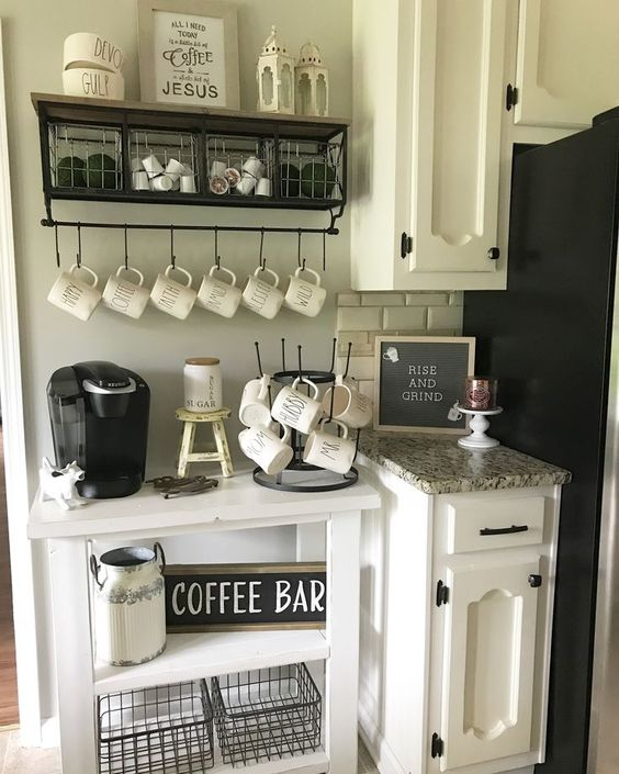 Coffee Bar Ideas for Kitchen - Rae Dunn Inspired Decor