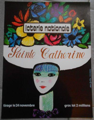 AFFICHE-LOTERIE-NATIONALE-Sainte-Catherine-ALAIN-GAUTHIER-Original-70s