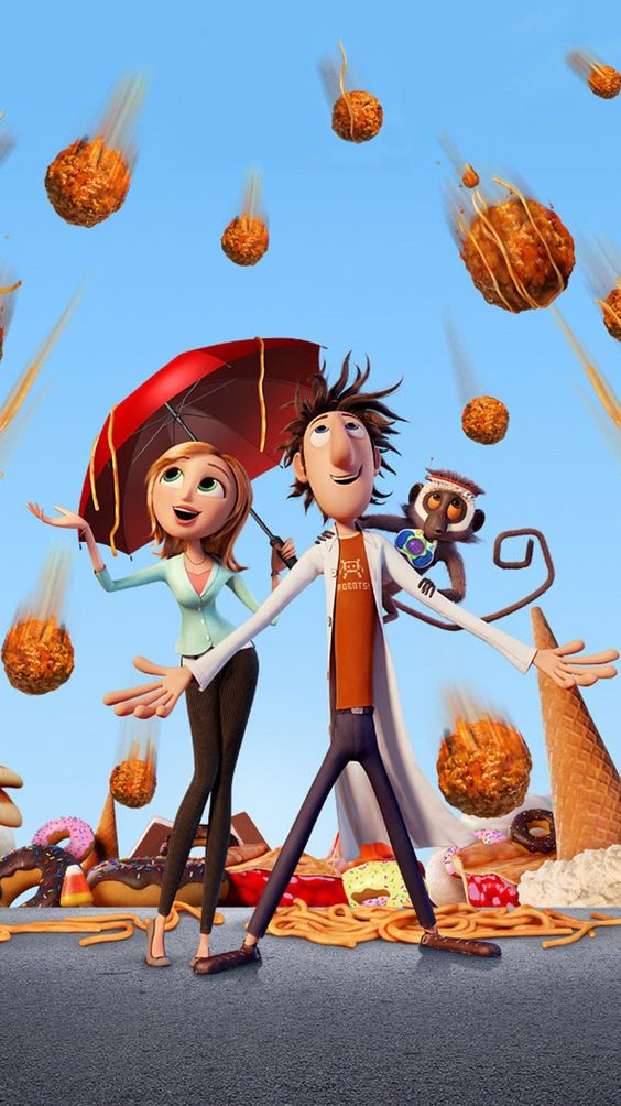 I love Cloudy with a Chance of meatballs ☁️☔🍎🍓🍔🥞🍝🍰💜