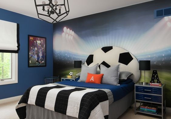 Ideas For Decorating A Soccer Bedroom Visionbedding Soccer Themed Bedroom Boys Bedroom Decor Soccer Bedroom