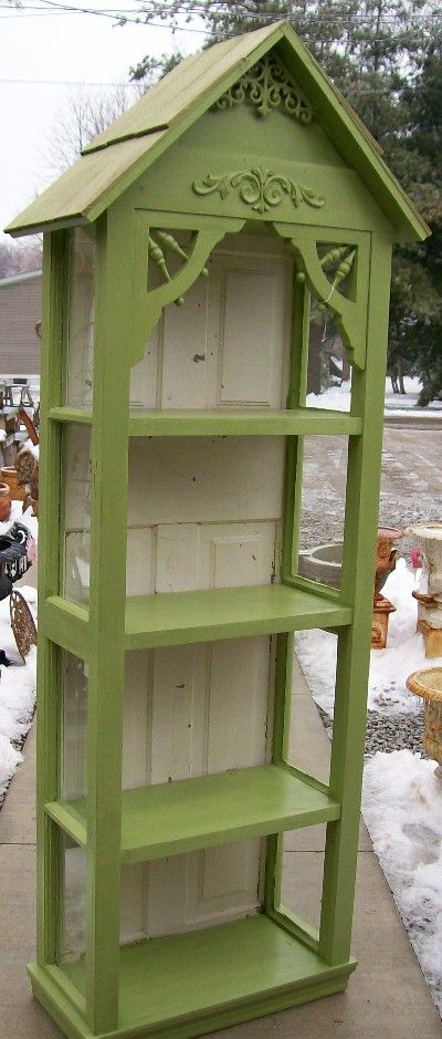 green cupboard, old windows, old porch trim door  for  back- LOVE THIS!