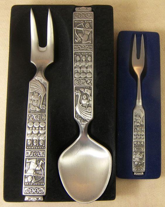 3 KONGE TINN VIKING SERVING PIECES Royal Pewter Made in Norway Large Spoon Fork #KongeTinn
