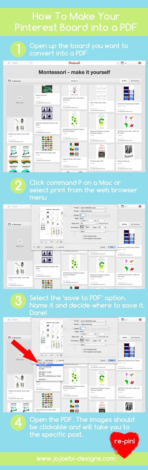 How To Turn Your Pinterest Board Into A PDF - just tickled by Jo's asking us to 'repin' :)