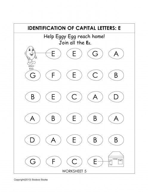 Alphabet worksheets, Worksheets and Alphabet on PinterestKindergarten alphabet worksheet to identify the letter E