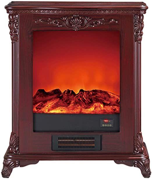 Gyhuji Free Standing Electric Fireplace Cute Electric Heater Log Fuel Effect Realistic Flame Space Heate Electric House Freestanding Fireplace Fireplace Heater