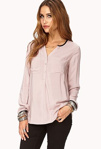 Essential Faux Leather-Trimmed Top   FOREVER 21 - 2000051790