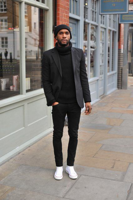 beanie , turtleneck sweater , blazer , jacket , black jeans ...