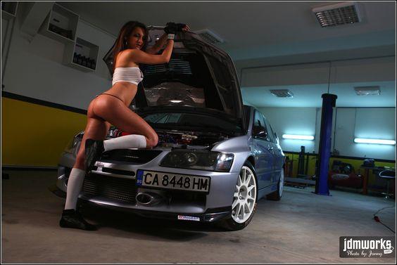 Gratuitous Girl With a Car Photo. Model Iva Rusinova Drift Car Driver