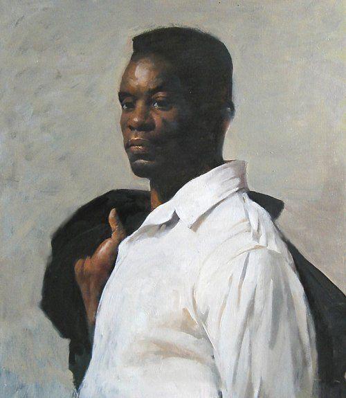"BURTON SILVERMAN    filler Study in Black & White  oil on board, 20"" x 18"""