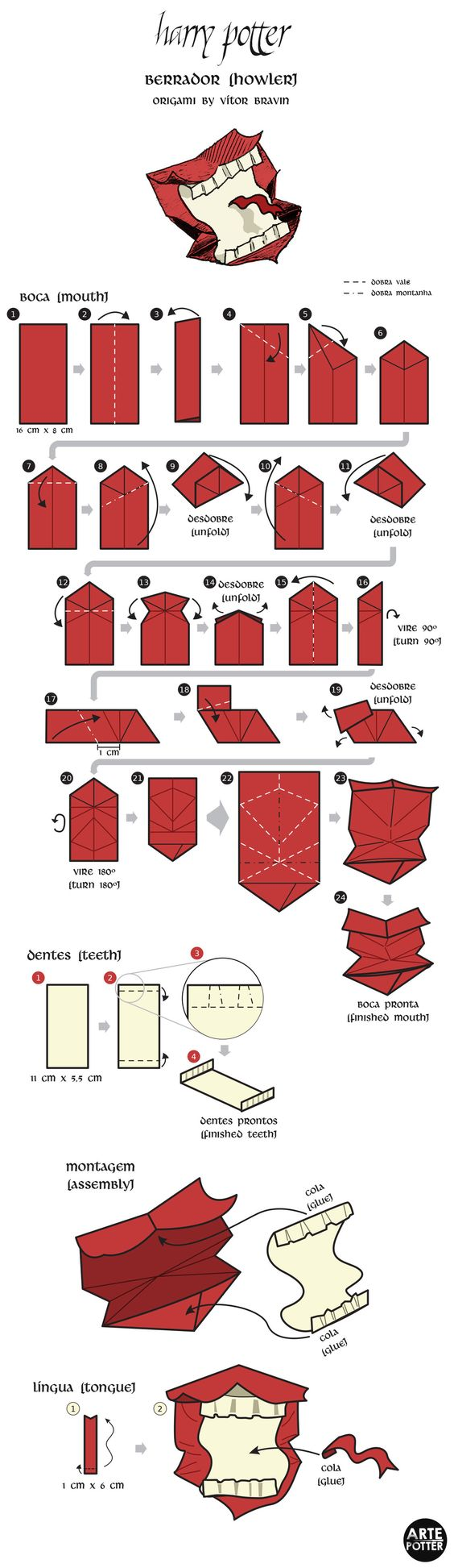 origami harry potter passo a passo - Pesquisa Google