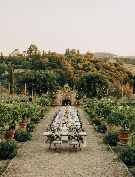 Elegant garden wedding venue at Italian villa