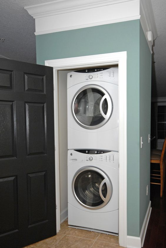 """Closet laundry..this door needs a """"shoe"""" organizer or something to hold essentials!"""