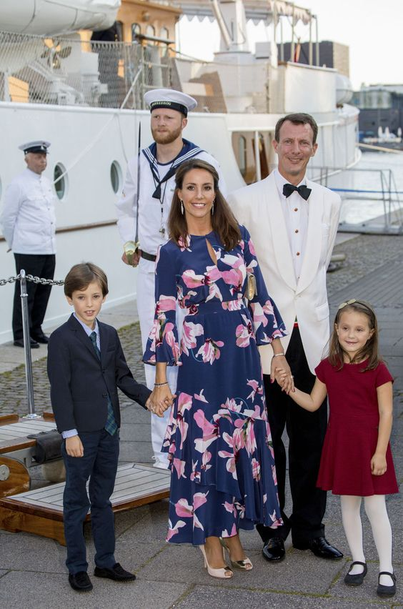 Princess Marie of Denmark, Prince Joachim of Denmark, Prince Henrik of Denmark and Princess Athena of Denmark attend the 18th birthday celebration of Prince Nikolai at royal ship Dannebrog on August 28, 2017 in Copenhagen, Denmark.