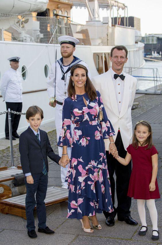 Princess Marie of Denmark, Prince Joachim of Denmark, Prince Henrik of Denmark and Princess Athena of Denmark attend the 18th birthday celebration of Prince Nikolai at royal ship Dannebrog on August 28, 2017 in Copenhagen, Denmark.
