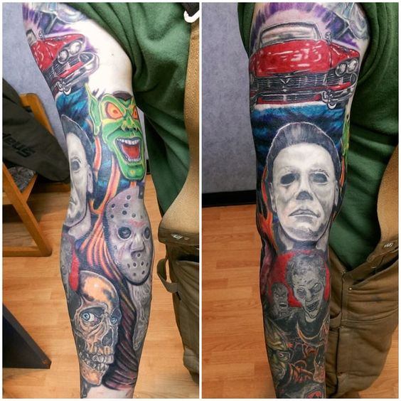 Horror Movie Tattoos Tattoos: Horror Movie Sleeve Started By Mark Haley At Big Ink