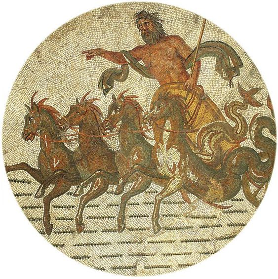 Poseidone  dio del mare  sul carro trainato da quattro cavalli     Sorothus     shouse Dating  III century A D  Materials  Marble A representation of god Poseidon on his chariot  The god of the seas is also the protector of