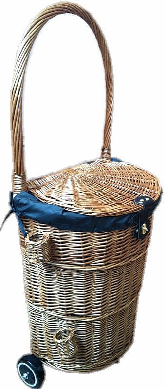 Vintage Wicker Shopping Trolley. Wicker shopping trolley now with brolly/stick holder New vintage wicker Shopping Trolley with zipped removable material waterproof liner and fastening clasp, ideal for