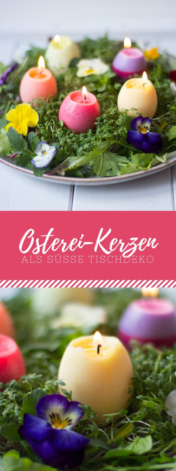 Tischdeko mit Osterei-Kerzen