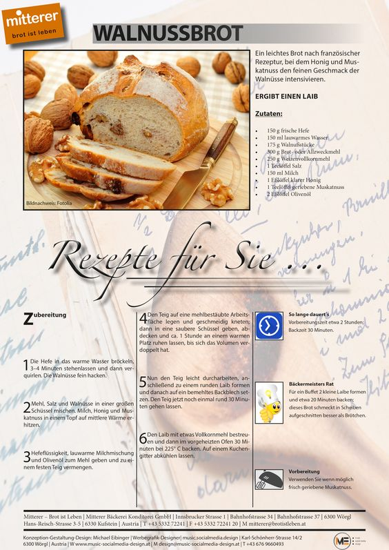Rezept: Walnussbrot | Viel Spaß beim nachbacken | Mitterer – Brot ist Leben