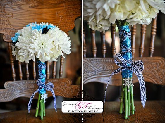 Blue, white and black bouquet (winter wedding)