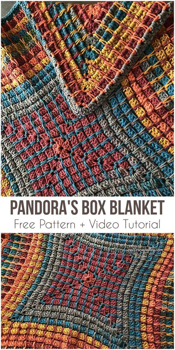 Pandora's Box Blanket Free Pattern + Video Tutorial #crochet #stitch #blanket #crochetpattern #homedecorideas #rusticdecor