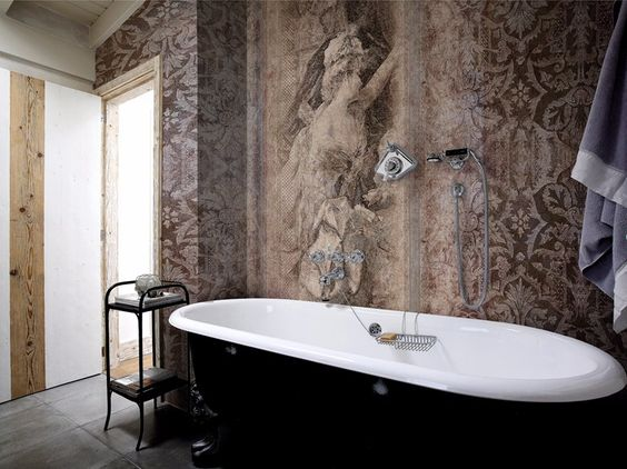 Damask panoramic wallpaper with textile effect TOILE DE JOUY 02 Charmant Collection by Inkiostro Bianco design Ink Lab