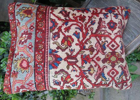 Antike Vintage Handmade Teppich Kissen decken von EymenArt auf Etsy