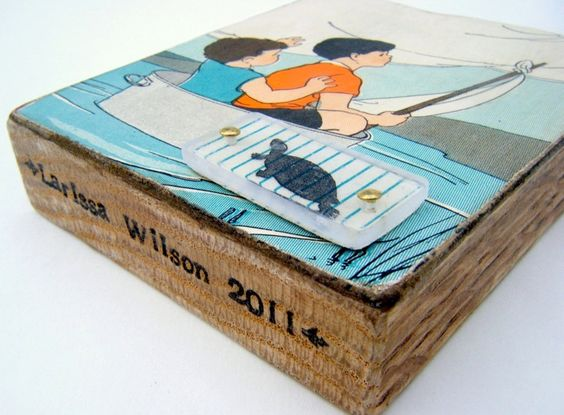 Sail Away - Recycled collage block. $18.00, via Etsy.