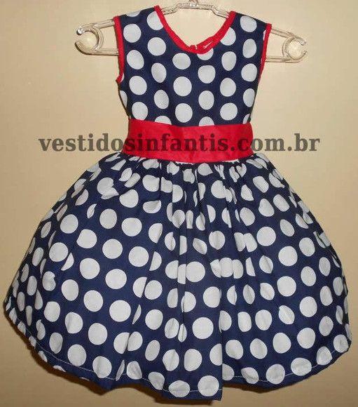 Vestido Azul de bolas brancas. Tecido: Tricoline Algodão. Tamanhos: P a 08 anos. R$140,00