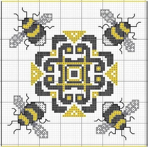Biscornu: Bumble Bees