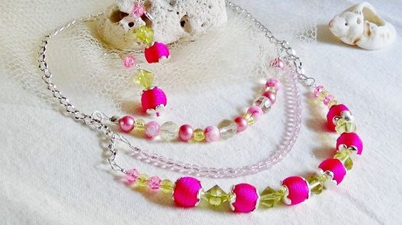 Pink Chartreuse Necklace Earring Set Triple Strand Silver Tone Link Chain – Spring Summer Fun Occasions! OOAK Warm Sands Gift Shop