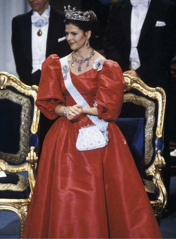 Queen Silvia at the Nobel prize festivities in 1983 Dress made by Jorgen Bender