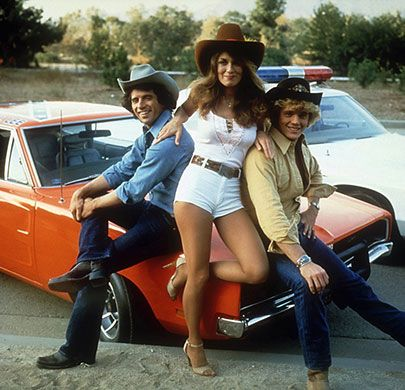 The Dukes of Hazzard : Tom Woppat as Luke, Catherine Bach as Daisy and John Schneider as Bo.