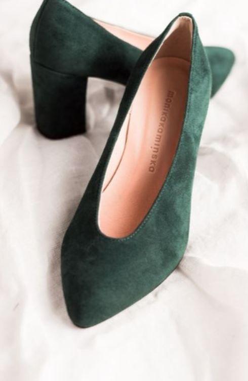 Czolenka W Kolorze Butelkowej Zieleni Heels Shoes Shoes Heels