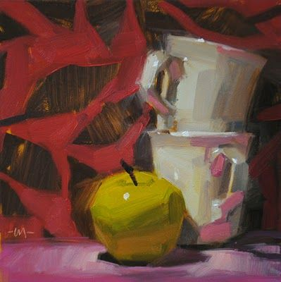 "Daily Paintworks - ""Pink Wallpaper"" - Original Fine Art for Sale - © Carol Marine"