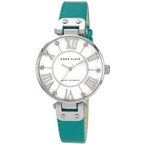 Anne Klein Watch, Women's Turquoise Leather Strap 35mm AK-1269MPTQ