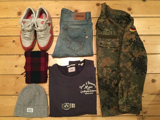 Edwin jeans, army surplus jacket, Nike air max 1, scotch sweatshirt, Norse projects beanie