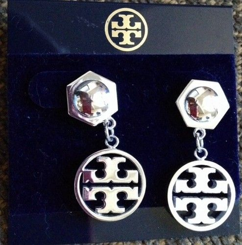 Tory Burch Circle Logo Drop Earrings Silver Plate New Authentic